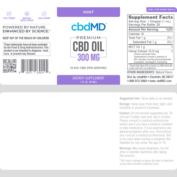 CBDMD :: Mint Tincture Drops (30ml - 300mg)