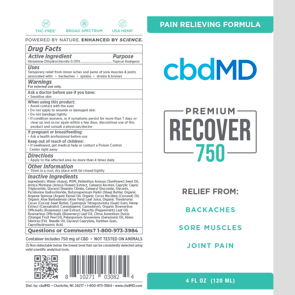 CBDMD :: Inflammation Formula Squeeze Cream (4oz, 750mg)
