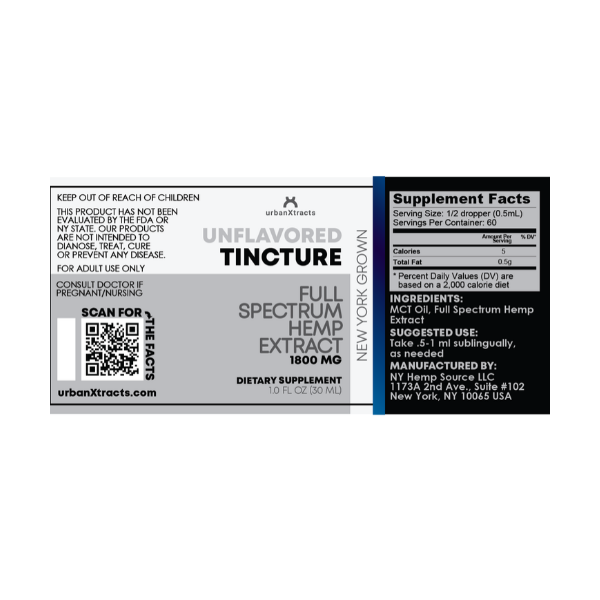 urbanXtracts :: Unflavored Tincture (30ml - 1800mg)